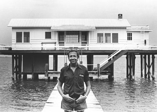 Rauschenberg in front of the Fish House, Captiva, Florida, 1979. Photo: Terry Van Brunt