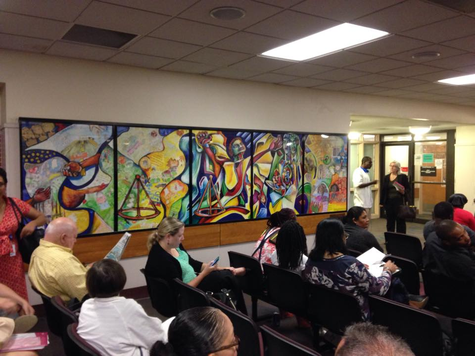 Original work on canvas hung at at the old courthouse waiting area from 1999 until it was moved to the 7th floor lobby (outside the courtrooms) of the new Miami-Dade Children's Courthouse in 2015.