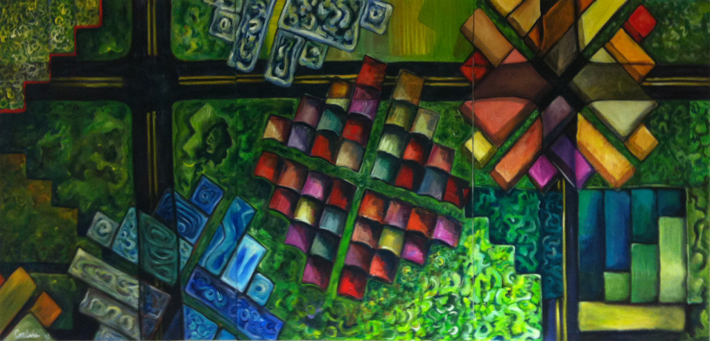 "Xavier Cortada, ""Rise,"" acrylic on canvas, 48"" x 108"", 2012"