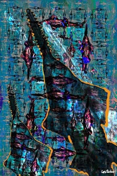 "Xavier Cortada, ""Smalltooth sawfish,"" digital art, 2015"