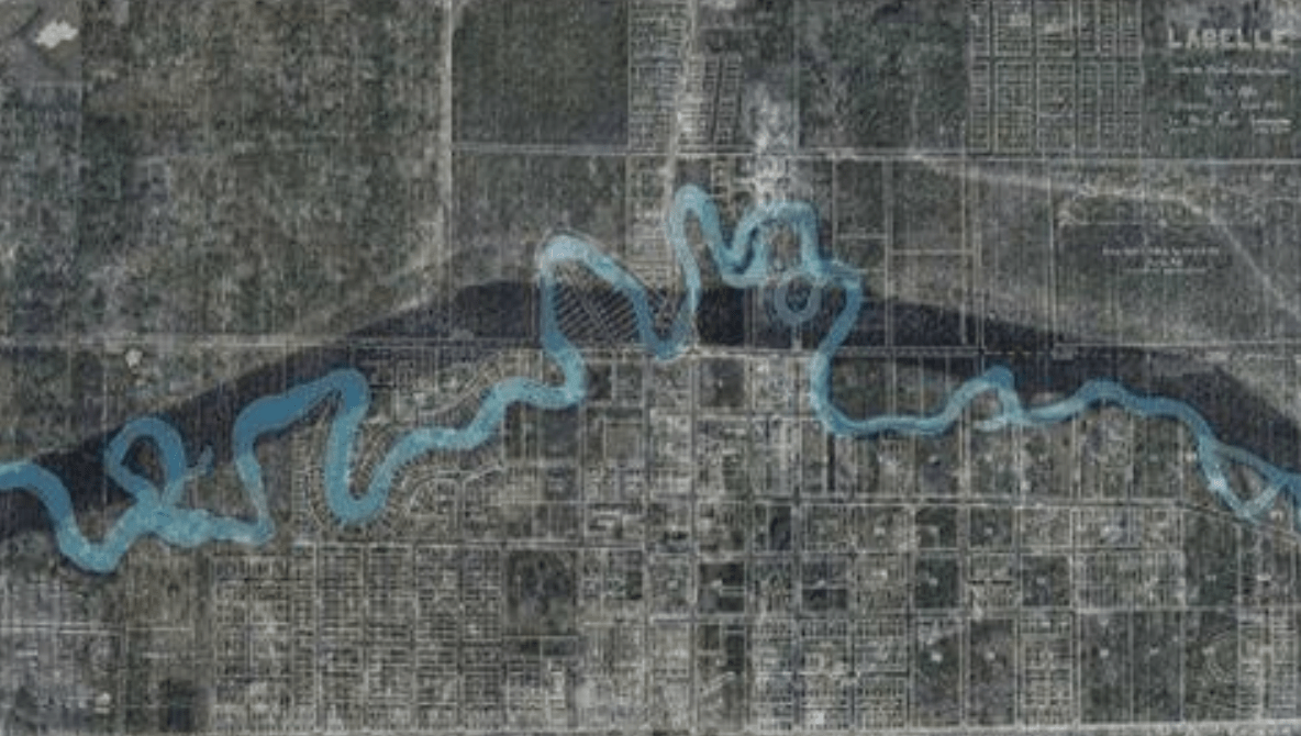 "C-43: The map shows the area around LaBelle and how the quiet meandering Caloosahatchee River was dredged into a trench- a canal merely for the conveyance of excess water- ""release to tide."" To the management district our river is simply the C-43, that is canal #43."