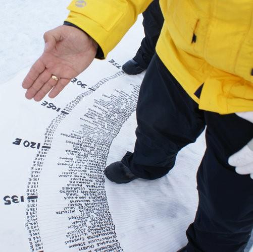 "Xavier Cortada, ""Endangered World: North Pole,"" ritualistic installation, 2008."