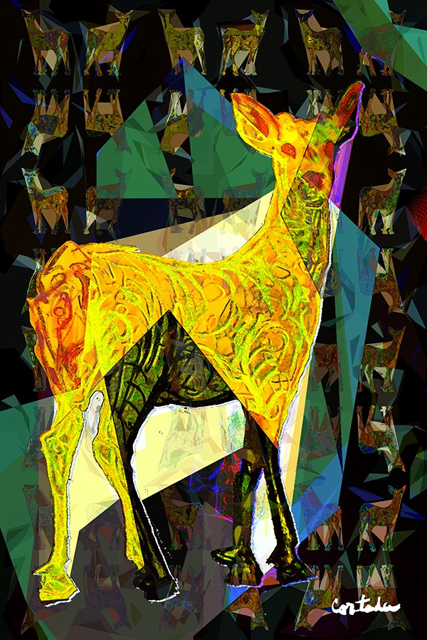 "Xavier Cortada, ""(Florida is...) Key Deer, archival ink on aluminum, 60"" x 40"", 2016 (www.florida-is.com)"