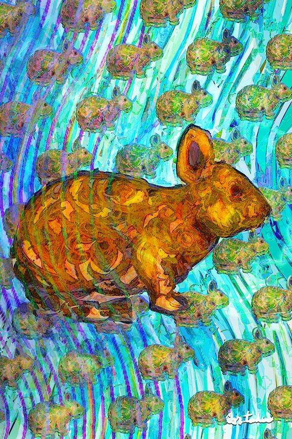 "Xavier Cortada, ""(Florida is…)Lower Keys Rabbits,"" archival ink on aluminum, 60″ x 40"", 2016 (www.florida-is.com)"