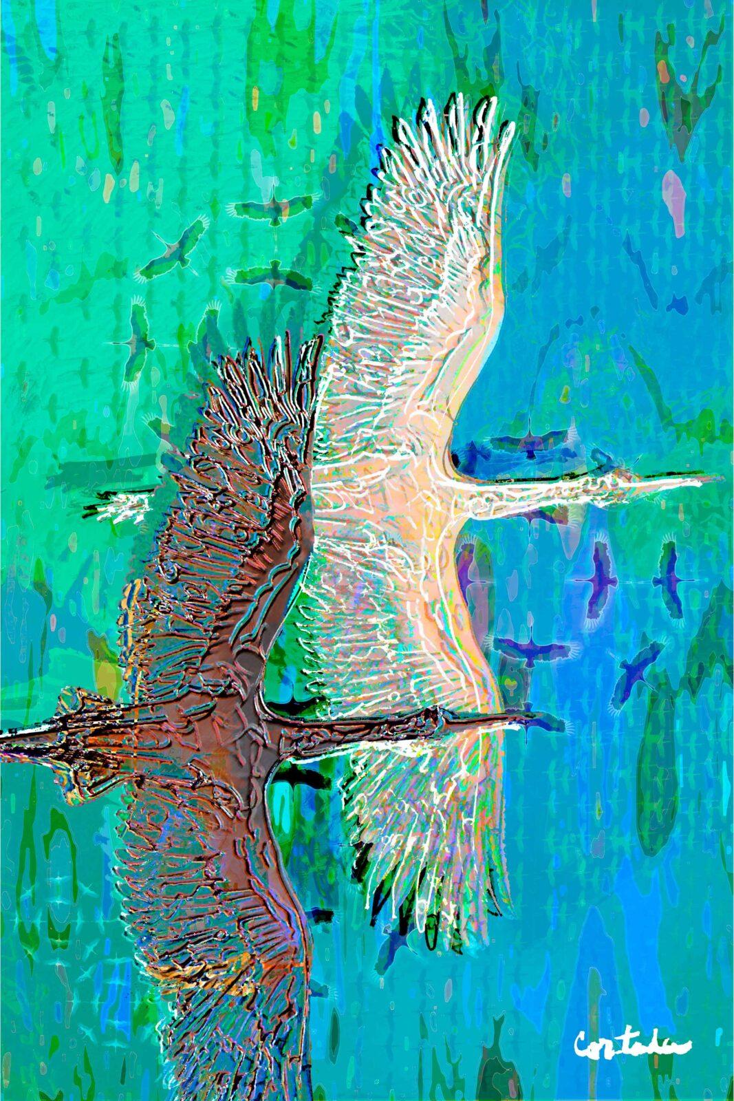 "Xavier Cortada, ""(Florida is…) Wood storks,"" archival ink on aluminum, 60″ x 40"", 2016 (www.florida-is.com)"