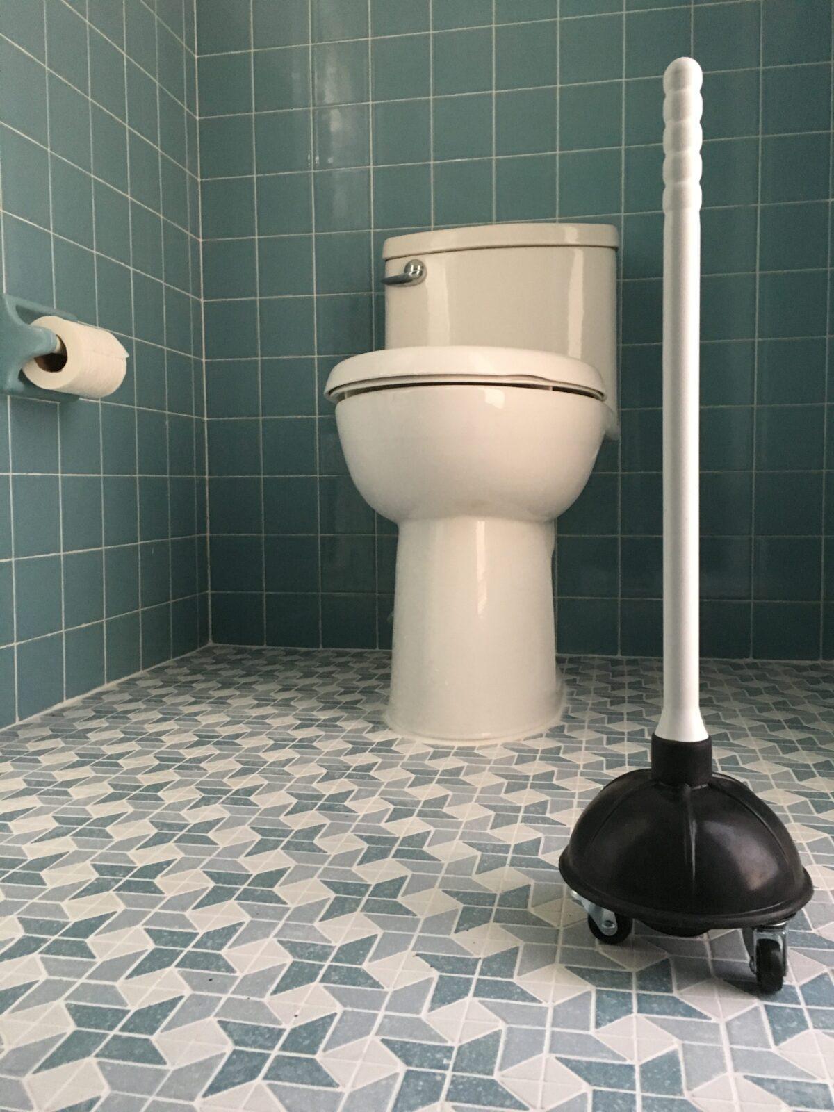 """Xavier Cortada, """"Solución para una revolución tupida,"""" toilet plunger on casters, limited edition of 3, 2016."""