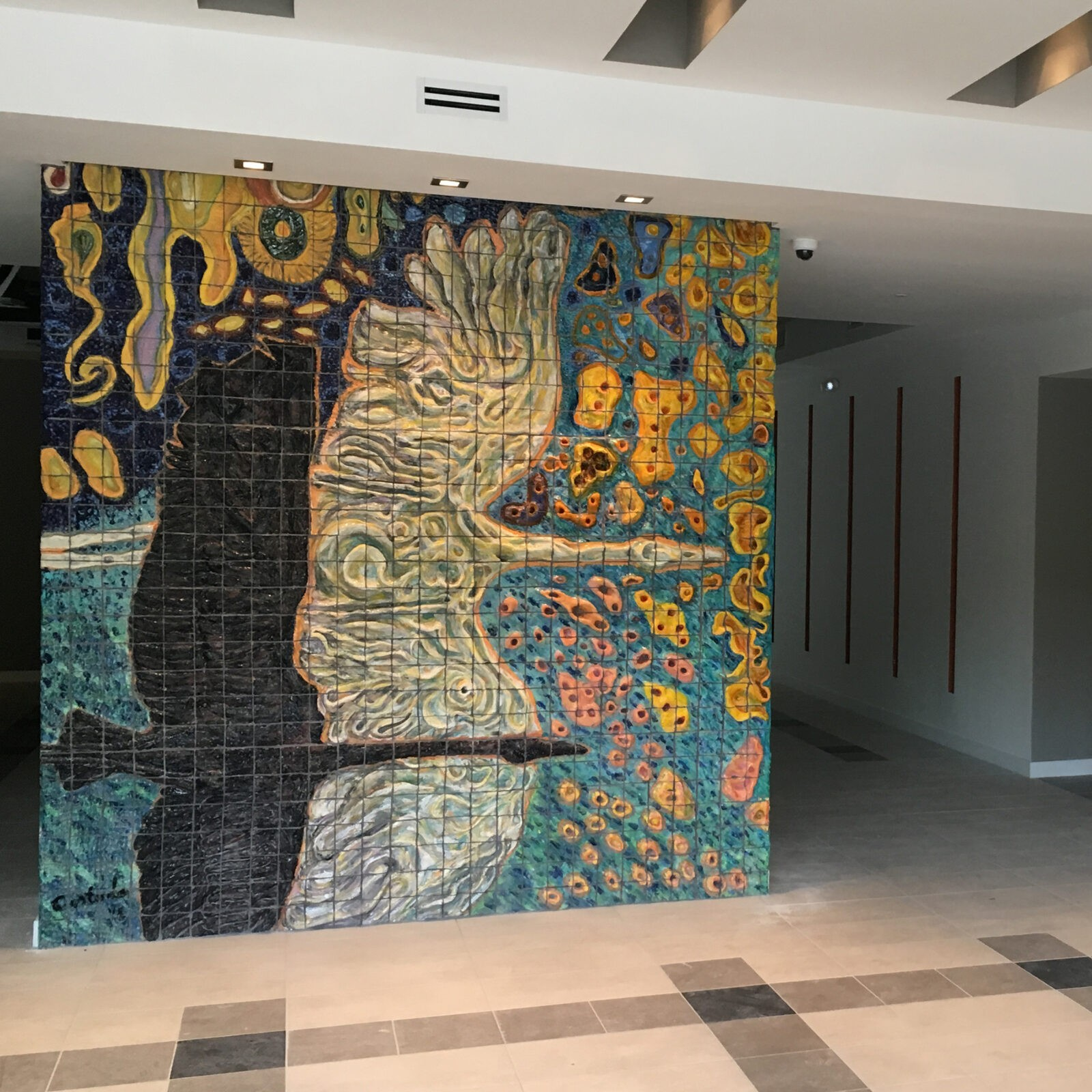 "Xavier Cortada, ""Sunburst Woodstorks,"" hand-carved/hand-painted ceramic tile, 10' x 8.75', 2016 (Stirrup Plaza II, Coconut Grove 