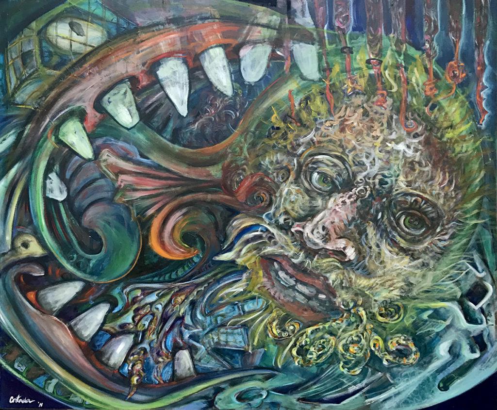 "Xavier Cortada, ""Devour,"" acrulic on canvas, 60"" x 72"", 2011."