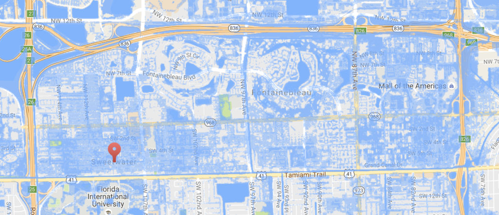 City of Sweetwater submerged beneath a 6 foot sea level rise.