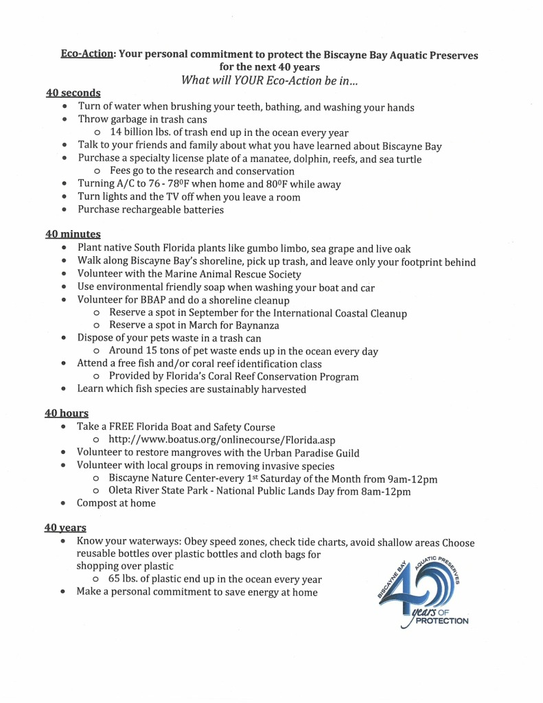 40 EcoActions Sheet